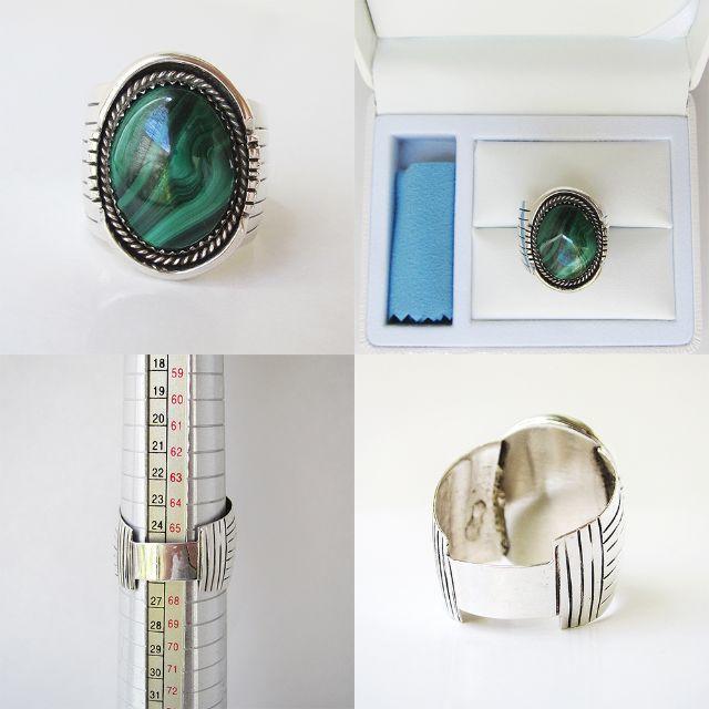 リング シルバー インディアンジュエリー 孔雀石 マラカイト 天然石 純銀24号 メンズのアクセサリー(リング(指輪))の商品写真