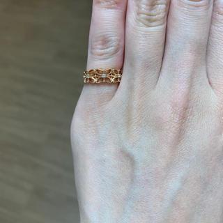 アガット(agete)のagate バタフライモチーフ K10 PG ダイヤモンド ピンキーリング 3号(リング(指輪))