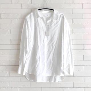 接触冷感 スキッパーシャツ 白 長袖 ブラウス(シャツ/ブラウス(長袖/七分))