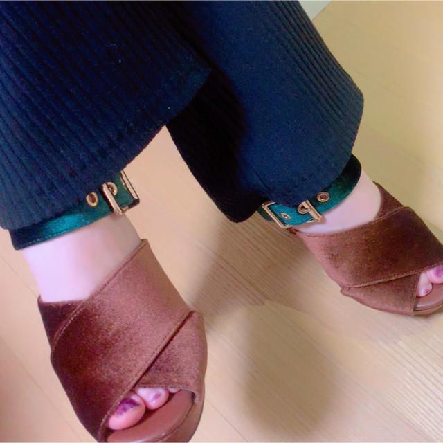 SLY(スライ)のベロア厚底サンダル レディースの靴/シューズ(サンダル)の商品写真