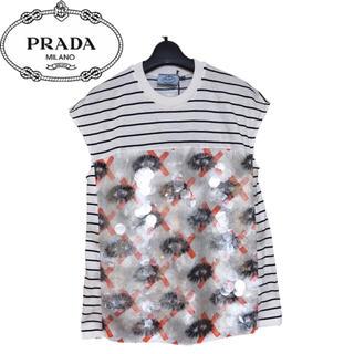 プラダ(PRADA)の【新品】PRADA プラダ ストライプ スパンコール Tシャツ オレンジ XS(Tシャツ(半袖/袖なし))