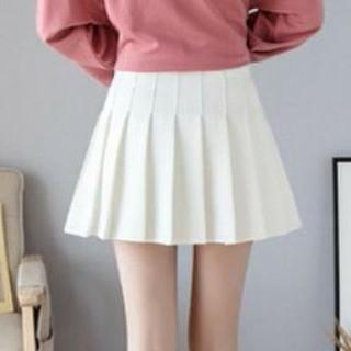 可愛いプリーツミニスカート インナー付き ホワイト Lサイズ(ミニスカート)
