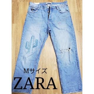 ザラ(ZARA)の値下げ‼【ZARA】刺繍入り ダメージジーンズ デニム(デニム/ジーンズ)
