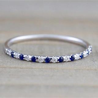 シルバーリング 9月誕生石 サファイア  シンプル 華奢 指輪(リング(指輪))