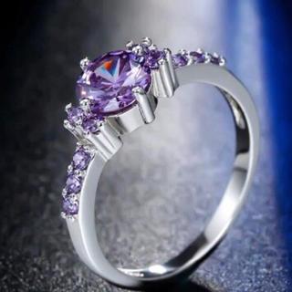 煌く2月誕生石 アメジスト シルバーリング 指輪(リング(指輪))