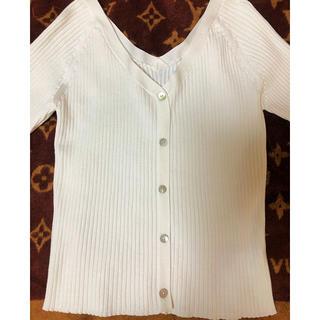 ココディール(COCO DEAL)のCocoDeal 白リブニット 半袖(Tシャツ(長袖/七分))