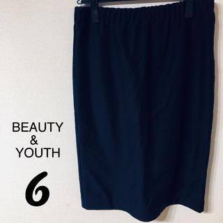 ビューティアンドユースユナイテッドアローズ(BEAUTY&YOUTH UNITED ARROWS)の6 ロク BEAUTY&YOUTH タイトスカート 38 ネイビー(ひざ丈スカート)