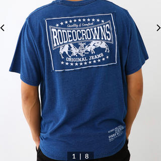 ロデオクラウンズワイドボウル(RODEO CROWNS WIDE BOWL)のロデオ★メンズ カラーパッチ Tシャツ/L/ブルー(Tシャツ/カットソー(半袖/袖なし))