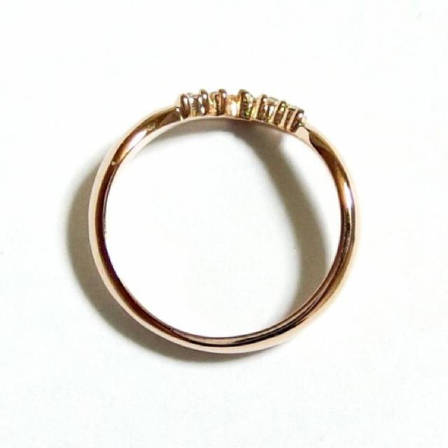 17号 Vライン スワロフスキー アルファベット ピンクゴールドリング レディースのアクセサリー(リング(指輪))の商品写真
