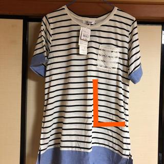 マックハウス(Mac-House)のボーダー Tシャツ レースポケット 袖、裾切替デザインLサイズ(*値下げ(Tシャツ(半袖/袖なし))