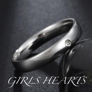 送料無料18号クロムシルバーワンポイントスーパーCZダイヤステンレスリング指輪(リング(指輪))