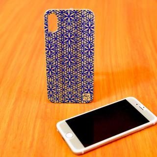 神秘的☆ 天然木 竹製 iPhoneケース 神聖幾何学 フラワーオブライフ 藍(スマホケース)