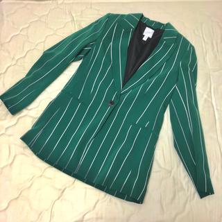 H&M - 緑 ストライプ ジャケット