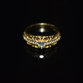 クロス リング ゴールド 指輪 k18 18金 コーティング 十字架 ジルコニア(リング(指輪))