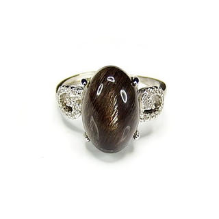 レアブラックサンストーン指輪AAAA天然石一点物17.5号石街U0187(リング(指輪))