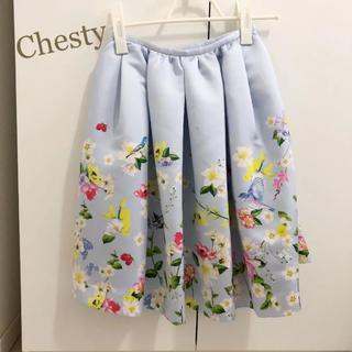 チェスティ(Chesty)のチェスティ 小鳥さん スカート ブルー 花柄 0 ひざ丈 人気 即完売(ひざ丈スカート)