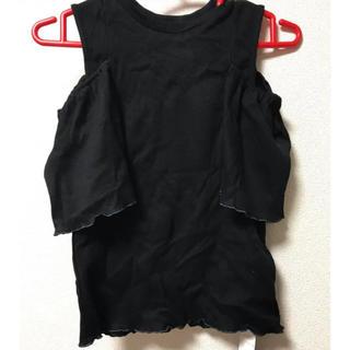 パメオポーズ(PAMEO POSE)の新品 PAMEO POSE 肩あき トップス 黒 半袖 ブラック(カットソー(半袖/袖なし))