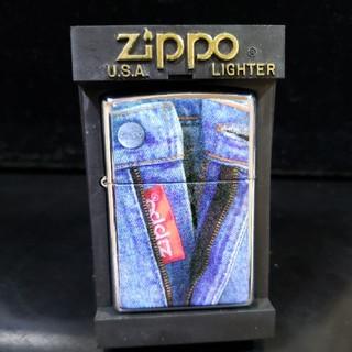 ジッポー(ZIPPO)の厳選中古❤96I'Zippo♥デニムジーンズ♥プレート貼り♥送料無料(タバコグッズ)