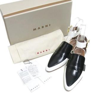 マルニ(Marni)の新品 MARNI アンクルストラップ付 フラットシューズ 定価106,920円(ローファー/革靴)