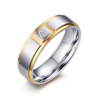 14金ホワイトゴールド仕上げ フリーメイソン Gマーク リング 24号(リング(指輪))