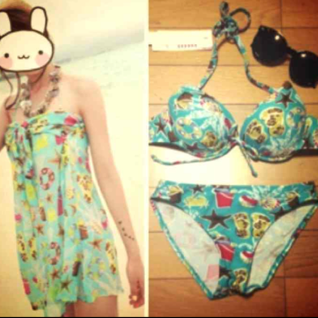 ビキニ三点セット♡ミントグリーン レディースの水着/浴衣(水着)の商品写真