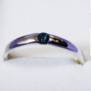 最終セール☆K10 WG ブルーダイヤモンドリング(リング(指輪))