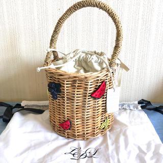 ラドロー(LUDLOW)のラドロー ラタン モチーフ バスケット かごバッグ フルーツ ビジュー(かごバッグ/ストローバッグ)