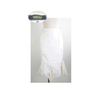 ヴェルサーチ(VERSACE)のVERSACE シフォンフリルの尾びれがひらひら可愛いデニムスカート(ひざ丈スカート)
