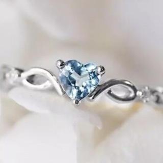 シンプル アクアマリ三月誕生石 3月 水色 シルバー リング 指輪(リング(指輪))