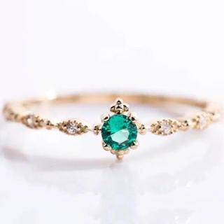 5月誕生石 エメラルド 華奢 ゴールドコーティング リング 指輪(リング(指輪))