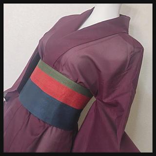 【訳あり未使用】広襟 シースルー着物浴衣無地パープル ワインレッド kimono(浴衣)