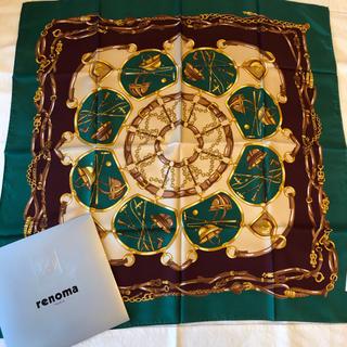 レノマ(RENOMA)の新品未使用 レノマ スカーフ グリーン馬具柄(バンダナ/スカーフ)