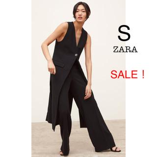 ZARA - 新品未使用 ZARA 襟無し ロング ジレ ロングベスト 黒 S