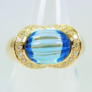 値下げK18 ブルートパーズ ダイヤモンド リング 6号[f36-22](リング(指輪))