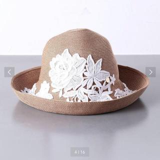 フォクシー(FOXEY)のアシーナニューヨーク ❤️麦わら帽子 レース 刺繍 お花(麦わら帽子/ストローハット)