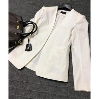 セオリー(theory)の美品 セオリー   ノーカラー ジャケット 白 ホワイト(ノーカラージャケット)