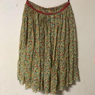 ツモリチサト(TSUMORI CHISATO)のTSUMORI CHISATO  シルク小花柄ギャザースカート(ひざ丈スカート)