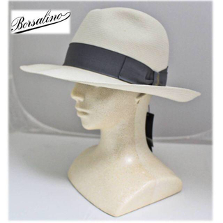 Borsalino - 《ボルサリーノ》新品  高級パナマハット 麦わら帽子 ワイドブリム 58(M)