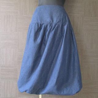 ハナエモリ(HANAE MORI)のハナエモリ HANAE MORI スカート 40 麻 リネン 春夏 美品(ひざ丈スカート)
