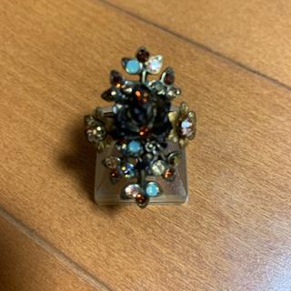 美品☆ミハエルネグリンの塗薔薇付きブラウン系マルチリング(リング(指輪))