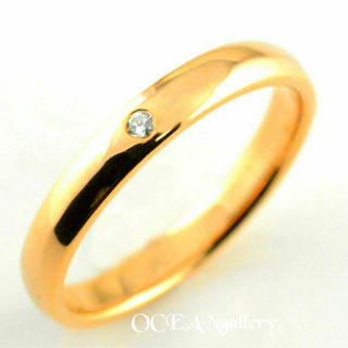 送料無料 19号 ゴールドサージカルステンレススーパーCZシンプル甲丸リング指輪(リング(指輪))