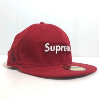 シュプリーム(Supreme)の11AW シュプリーム ニューエラ ボックスロゴ ウールキャップ 赤 58.7(キャップ)