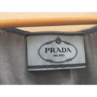 プラダ(PRADA)のPRADA ) プラダ 麻 リネン ワンピース プリーツ 水色 ブルー 38(ミニワンピース)