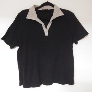 3L~スキッパー 半袖Tシャツ ブラック(Tシャツ(半袖/袖なし))