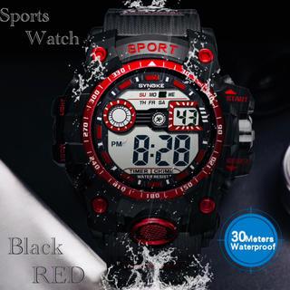 スポーツ腕時計 デジタル 腕時計 ミリタリー 耐久性 スポーツ レッド(腕時計(デジタル))