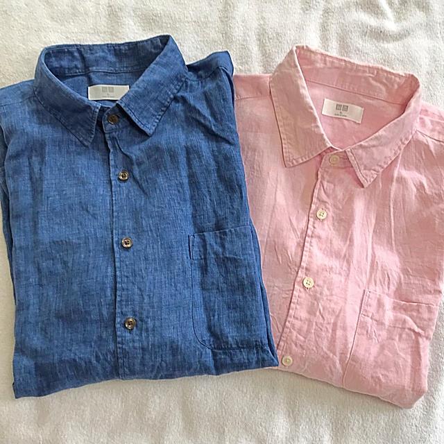 UNIQLO(ユニクロ)のメンズ UNIQLO 麻100% 長袖シャツ XL 2着セット  メンズのトップス(シャツ)の商品写真