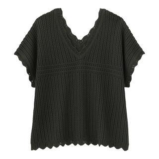 GU - 透かし編みVネックセーター(半袖)   ダークグレーM