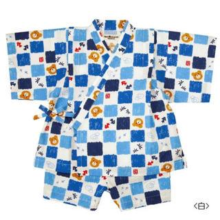 ミキハウス(mikihouse)の美品☆ミキハウス ホットビスケッツ 甚平 ブルー 90(甚平/浴衣)