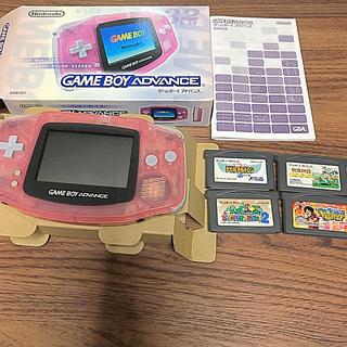 ゲームボーイアドバンス(ゲームボーイアドバンス)のゲームボーイアドバンス 本体 ピンク ジャンク おまけカセット付 マリオ牧場物語(携帯用ゲーム機本体)