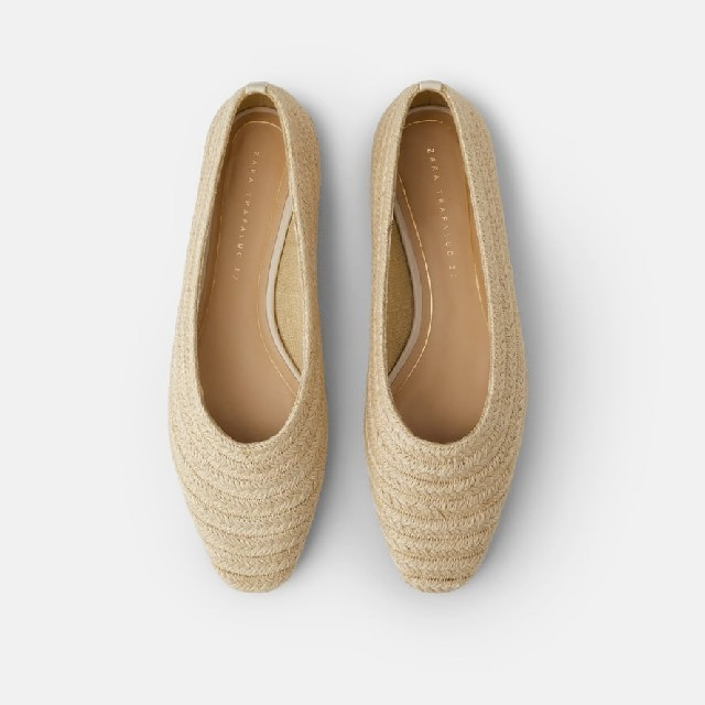 ZARA(ザラ)のZARA ラフィア パンプス 35 レディースの靴/シューズ(バレエシューズ)の商品写真